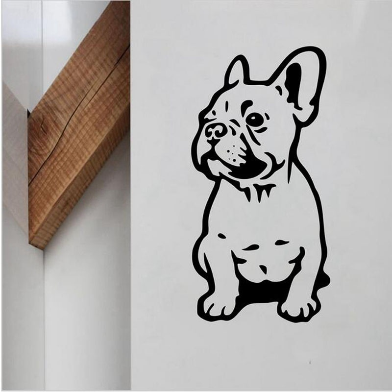 French Bulldog Vinyl Wall Sticker Lovely Dog Wall Decals For Home Lilving Room/Car Decoration Animals Art Mural Home Decor H33