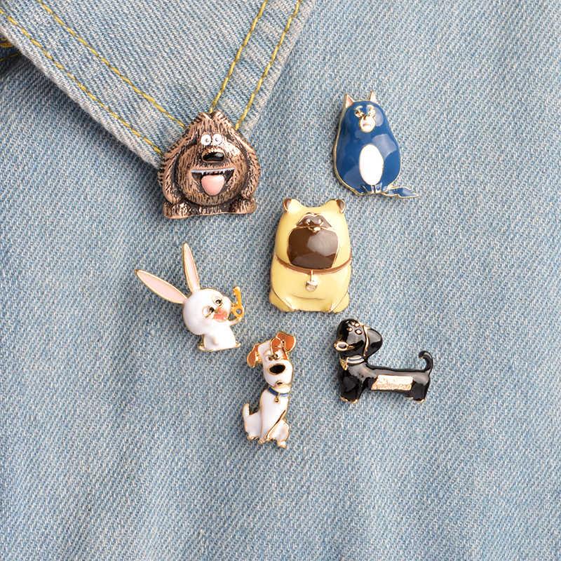 f59764f9b The Secret Life of Pets Brooch set Cartoon Dog Rabbit Cat Animal Enamel Pins  Backpack Jacket