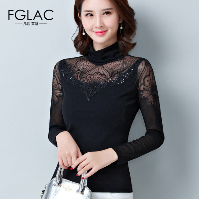 bc95542e33b FGLAC Women blouse shirt Fashion Casual Long sleeve black tops Elegant Slim  Hollow out Turtleneck shirt plus size women blusas