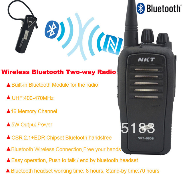 Bluetooth Walkie Talkie UHF 400 470MHz 16CH 4W Built in Bluetooth ...