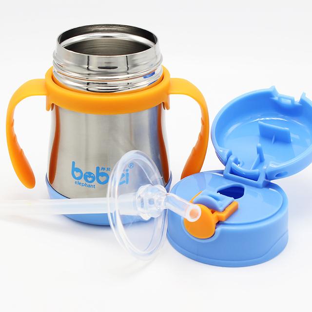 Bobei elefante steel inoxidável garrafa de alimentação do bebê da preservação do calor cup treinamento crianças alça portátil à prova de vazamento 200 ml