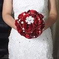 Вина Красные Розы Искусственные Свадебные Букеты С Жемчугом Дешевые Свадебные Украшения Свадебные Аксессуары свадебные цветы свадебные бо