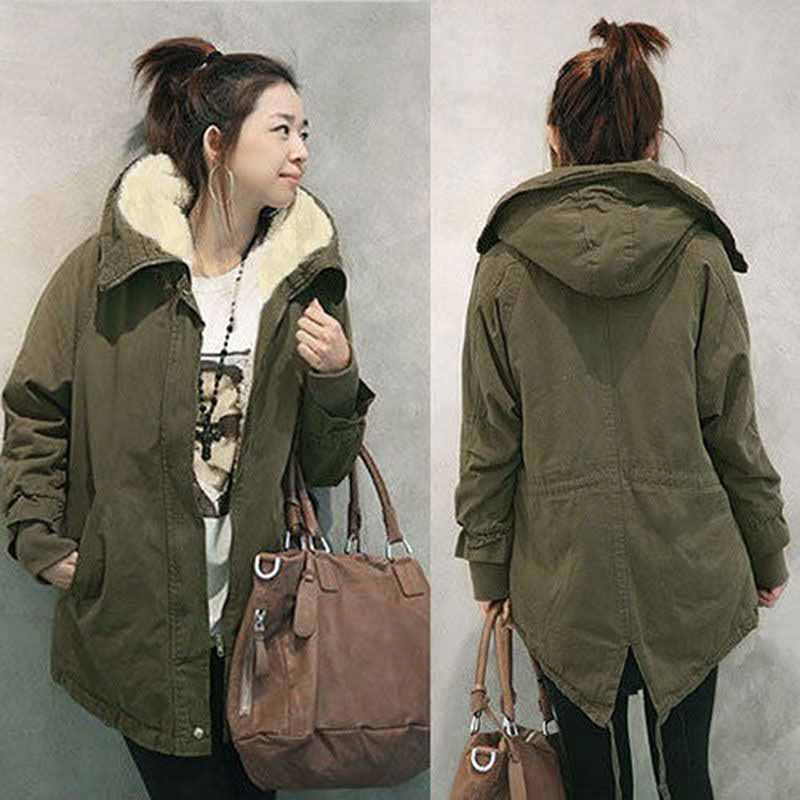 2018 New Plus Size 5XL Women Fashion Hooded   Parka   Fleece Coat Winter Warm Long Sleeve Coat Black Army Green Long   Parkas   Outwear