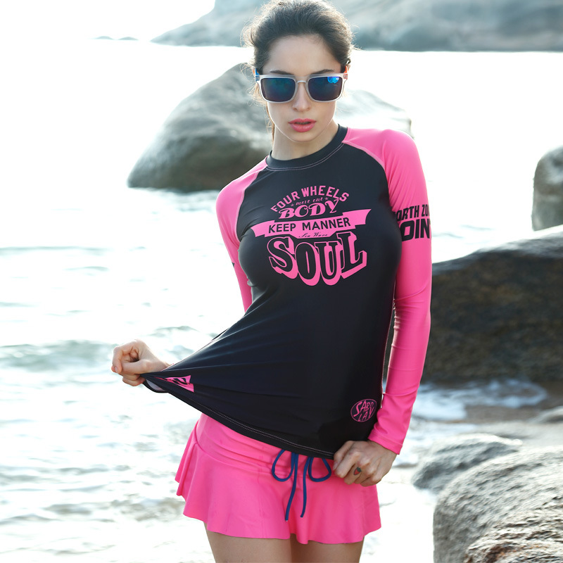 rashguard women surf Split wetsuit Tight-fitting swimwear Prevention Jellyfish waterproof Sun protection Beach clothes camisa uv upf50 rashguard at152