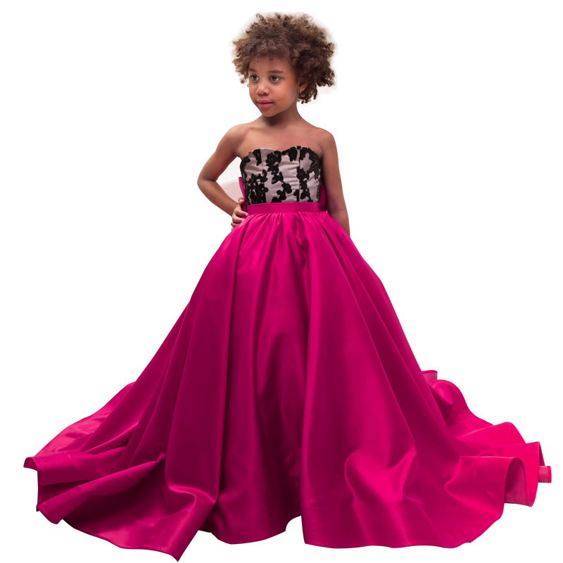hot pink little girls dresses with bow floor length ball gown dresses for girls 2-12 years pageant dresses for girls 2018 girls dresses bow leaf print