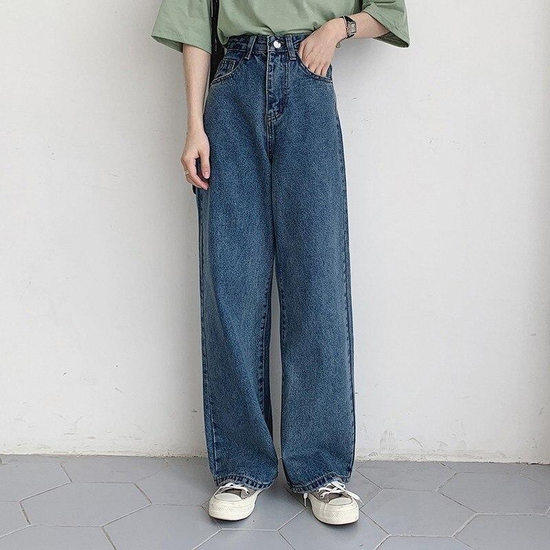 Boyfriend Jeans For Women Casual Vintage High Waist Denim Wide Leg Pants Femme