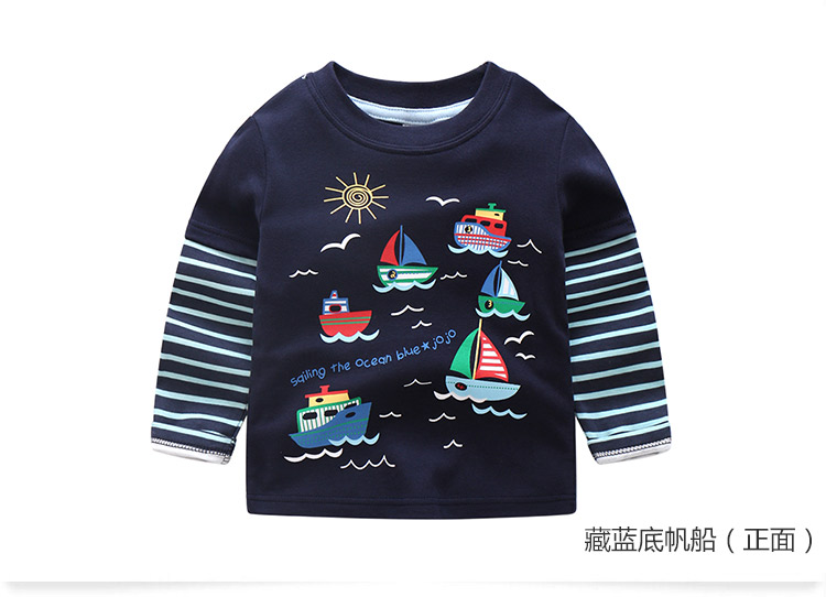 2018 Spring Autumn For 2-9 10 Years Children Cotton Striped Patchwork Cartoon Car Bus Truck Baby Kids Boys Long Sleeve T Shirts (52)