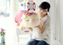 big cartoon cute plush pig toys lovely pig pillow toy pink spot stuffed doll birthday  gift about 75cm