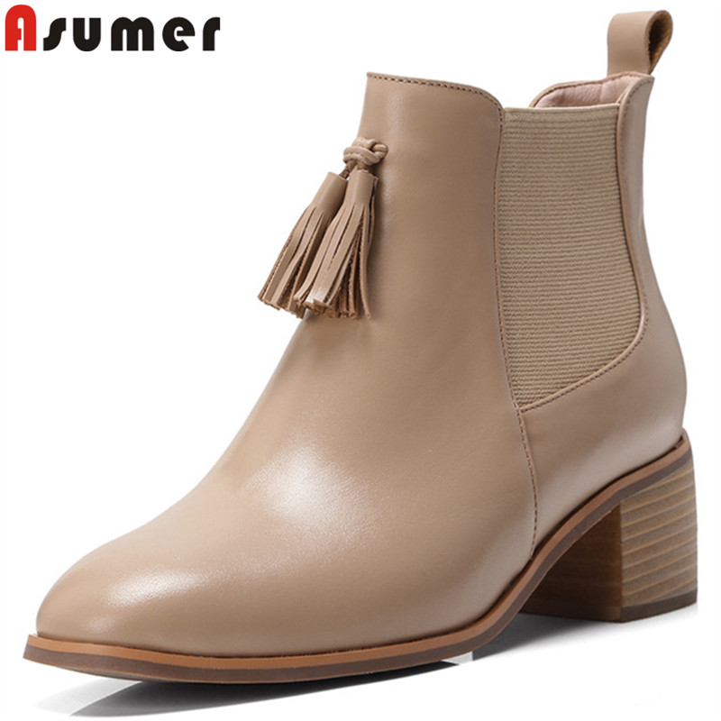 ASUMER 2018 fashion ankle boots for women square toe genuine leather boots fringe square heel ladies boots black size 33-40 ASUMER 2018 fashion ankle boots for women square toe genuine leather boots fringe square heel ladies boots black size 33-40