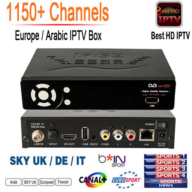 1150 + Canales de IPTV Libre IP-S2 Más Inteligente Caja de la Tv DVB-S2 Receptor de satélite del HD Completo 1080 P 1 Año Europa IPTV Árabe suscripción