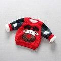 2016 зима новый Корейских детей и мальчиков и девочек Рождественский олень ягненок бархат плюс длинными рукавами свитер футболка 2-7 Т