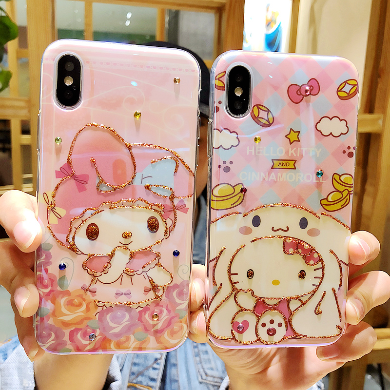 For iPhone 7 7plus Doraemon Kitty phone Cases , Cute melody Soft Cover For iphone X 6 6s 6Splus 8 8plus panda drop glue case