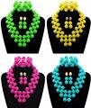 2017 Última Multicolor Perlas Africanas Joyería Conjunto Verde Amarillo Azul De Plástico Bolas Nigeriano Boda Perlas de Novia Joyería Set de Regalo