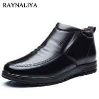 Hot Sale Autumn Winter Black Genuine Leather Casual Snow Boots Men Ankle Boots Flat Fashion Man