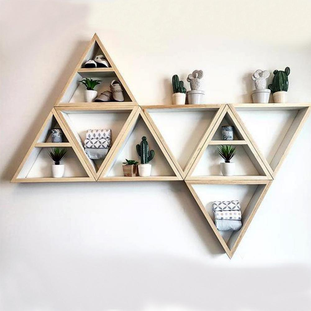 US $10.64 44% OFF Triangle Natural Wooden Decorative Shelves Commodity  Shelf For Bedroom Living Room Kitchen Office Children Home Decoration-in ...