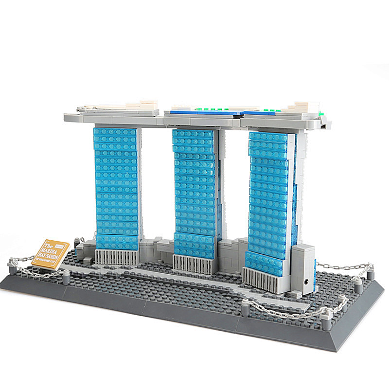 WANGE Architecture Marina Bay Sands Building Blocks Sets City Bricks Classic Skyline Model Kids Gift Toys Compatible Legoings