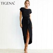 TIGENA летнее платье Макси Для женщин 2018 плюс Размеры короткий рукав длинная туника Винтаж платье рубашка Для женщин сарафан с поясами роковой