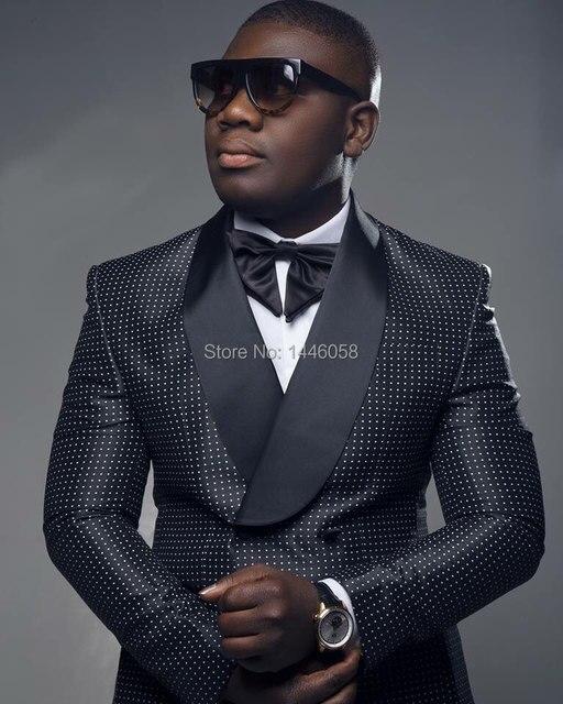 2018 hombres negro doble botonadura boda novio traje con pantalones esmoquin  para hombres trajes de boda 1e40ea842e7