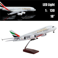 46 CM 1:130 Airplane Model Emirates A380 with LED Light(Touch or Sound Control) Plane for Decoration or Gift