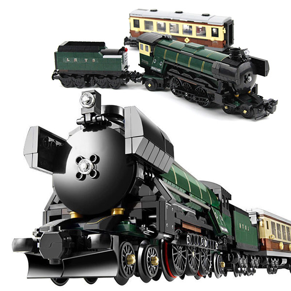 Technic Series Emerald Night Train Model Building Block Set Bricks Toys 1085Pcs Compatible Legoings 10194 KIds Gifts