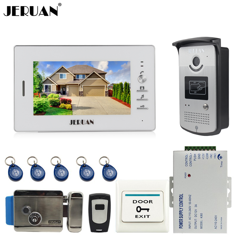 JERUAN New 7`` Color Screen Video DoorPhone Intercom System 1 Monitor +700TVL RFID Access Camera + Electric Control Lock brand new 7 inch color screen video doorphone sperakerphone intercom system 1 monitor 700tvl coms camera free shipping