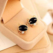 100% Brand New Women Lady 1Pair Black Smile Cat High-Grade Fine Rhinestone Stud Earrings charms jewelry making Gift Dropshipping(China)