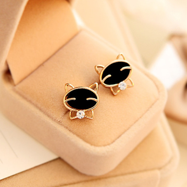 brixini.com - Smiling Black Cat Stud Earrings