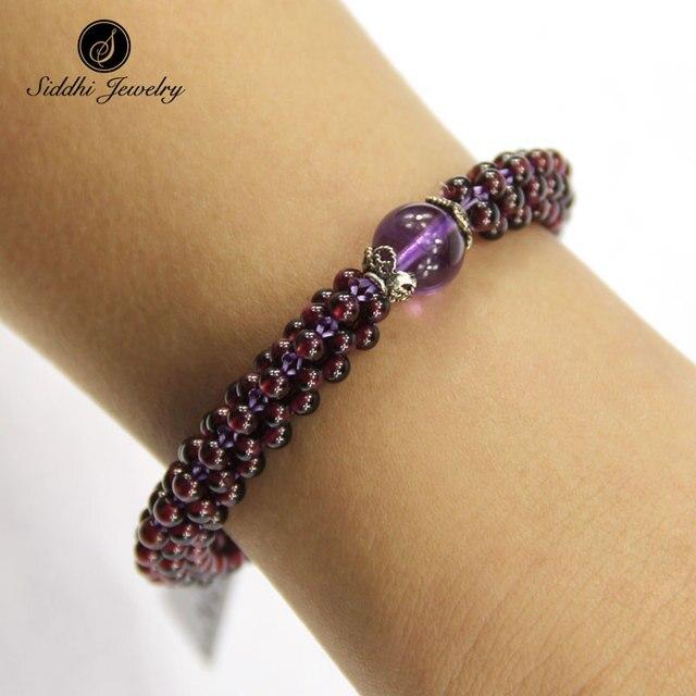 Original Siddhi 3.5mm Garnet Strand Bracelet Bangle with Amethyst Crystal Bead Wristband Charm Bracelets for Women Natural Stone
