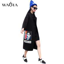 2016 New Spring Fashion/Casual Women's Trench Coat Long Outerwear Cartoon Loose Clothes Single Breasted Vestidos Plus Size XL