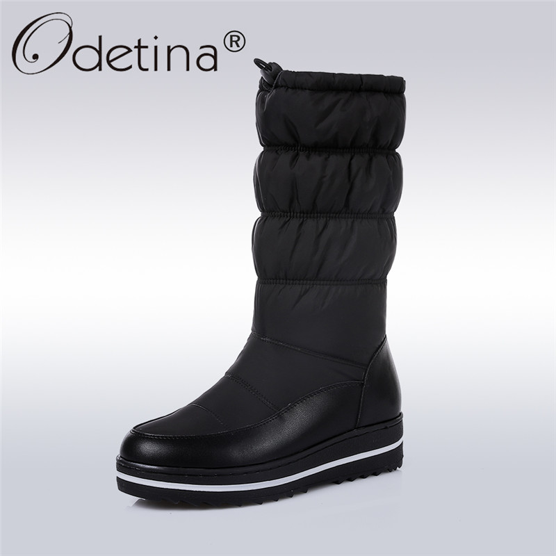 Odetina 2017 New Genuine Leather Women Snow Boots Thick Fur Down Mid Calf Boots Platform Winter Keep Warm Shoes Big Size 35-44 high quality genuine leather mid calf boot winter slip on warm snow boots women suede thick sole platform invisible wedges shoes