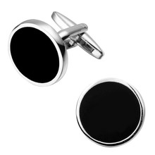 Men's shirts Cufflinks high-quality copper material Black circular Cufflinks 2 pairs of packaging for sale