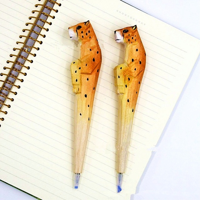 Coloffice Creative Wood Carving Lift Leg Vertical Leopard Ballpoint Pen Gift Office Stationery School Writing