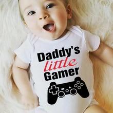 DERMSPE Casual Newborn Baby Boys Girls Short Sleeve Letter Print Daddys Little Gamer Cute Cartoon Romper Clothes