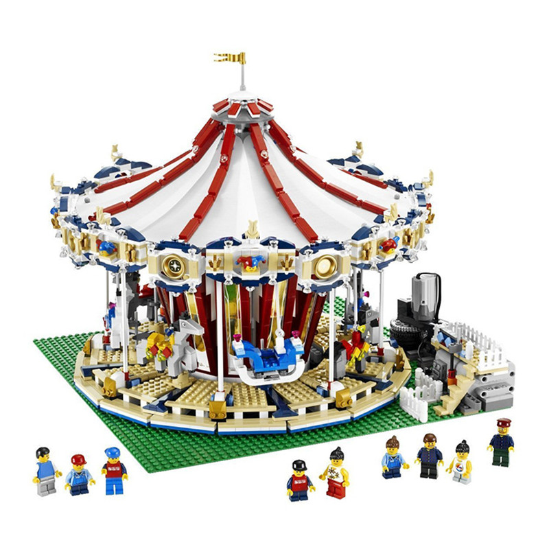 LEPIN 15013 3263Pcs 15036 2705Pcs with light City Street Grand Carousel Model Building Kits Block Compatible with 10196 10176 lepin 15013 city sreet carousel model building kits blocks toy compatible 10196 with funny children educational lovely gift toys