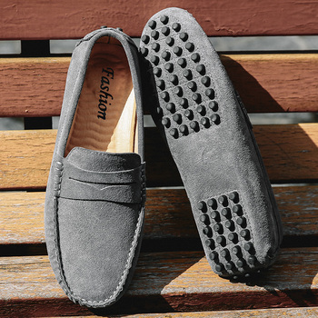Men Loafers Soft Moccasins Autumn Winter Genuine Leather Shoes Men Warm Fur Plush Flats Gommino Slip On Driving Shoes 1