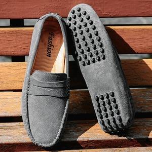 Image 2 - Mannen Loafers Zacht Mocassins Herfst Winter Echt Lederen Schoenen Mannen Warm Bont Pluche Flats Gommino Slip Op Rijden Schoenen