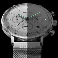 2018 BIDEN Mens Watches Top Brand Luxury Business Sport Chronograph Quartz Man WristWatch slim case Male Clock waterproof