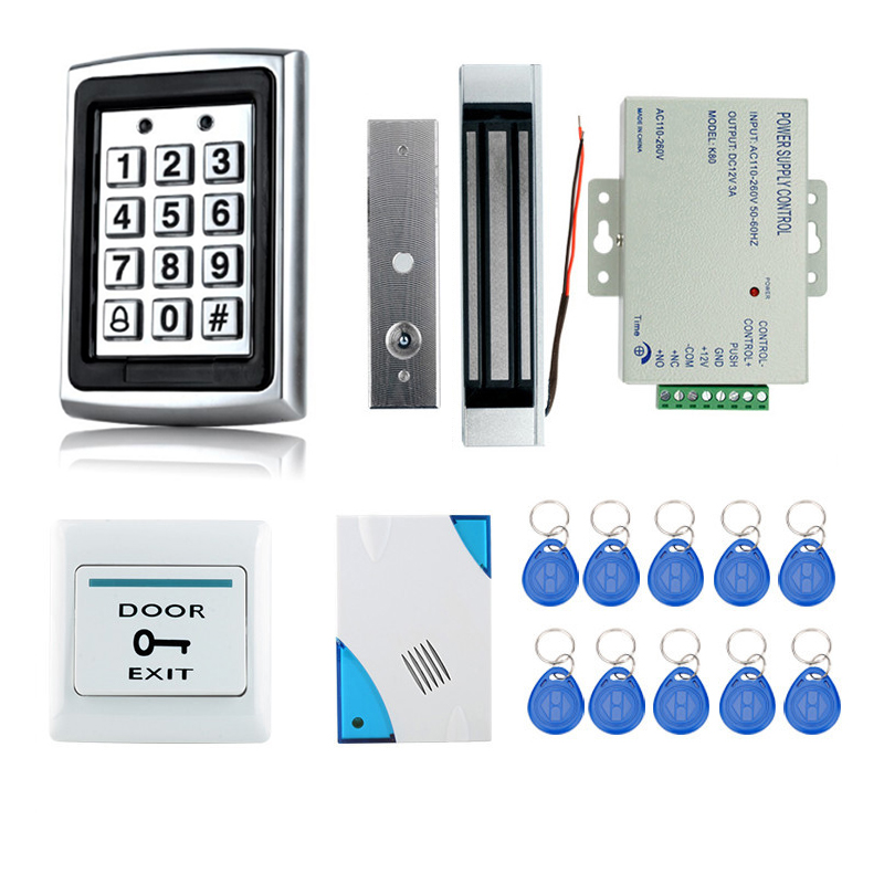 Hot selling!! Full Complete RFID Door Lock Access Control System+Power Supply+Electric Magnetic Lock+Door Exit Button+Bell+Keys стоимость