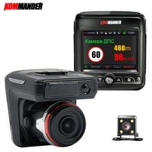 Kommander Car DVR 3 in 1 Anti Radar with GPS Full HD 1080P Dashcam Recorders Front and Rear Camera GPS Night Vision Speedcam