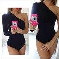 2016 nueva moda de alta calidad mujeres sexy hombro backless bodysuit monos mamelucos combinaison femme