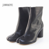 JAWAKYE Sexy Split toe Ankle Boots Women Genuine Leather Military Botas Black Brown Short Motorcycle Boots for Women