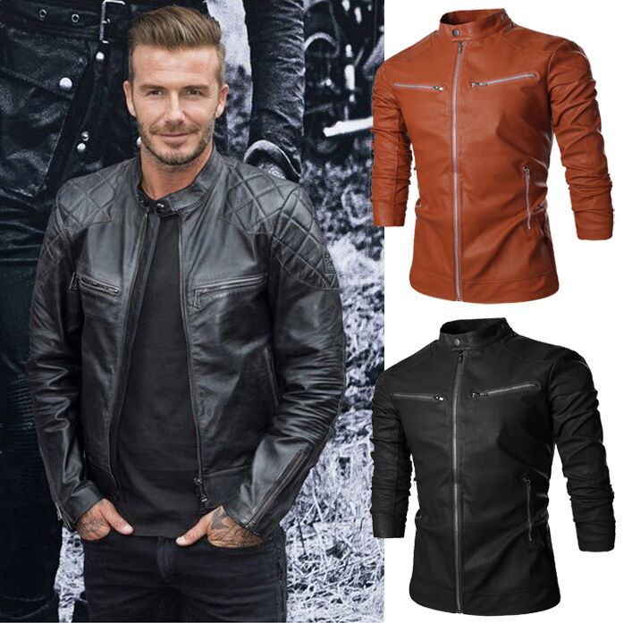2015 new arrival Men casual leather jacket solid Slim Mandarin ...