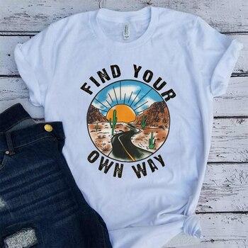 Amerikan Pop Bulmak Kendi Yolunuzu Sloganı Kadın Tees Beyaz Yaz Kollu Pamuk T shirt Tumblr Vintage Grafik T shirt kadın