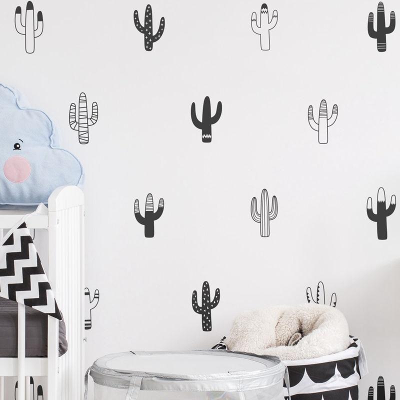 DIY Cactus Wall Decals Nursery Art Decor , Tropical Plant Cactus Vinyl Wall Stickers Unique Home Decor