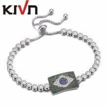 KIVN Jewelry Adjustable Brazilian Flag Charm Tennis CZ Cubic Zirconia Womens Bridal Wedding Bracelets Christmas Birthday Gifts