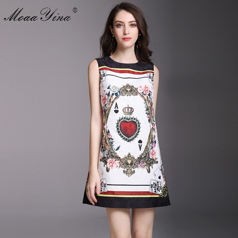 MoaaYina Fashion Designer Runway Dress Summer Women Sleeveless Jacquard Floral Print Playing cards Beaded Casual Vintage Dress