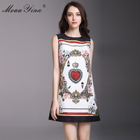 MoaaYina Fashion Designer Runway Dress Summer Women Sleeveless Jacquard Floral Print Playing Cards Beaded Casual Vintage