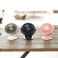 3 Gears Mini Desktop Clip Fan DC5V USB Summer Cooling Fan Built in 2000mAh Battery 3 Colors Mini Air Conditioner Ventilator