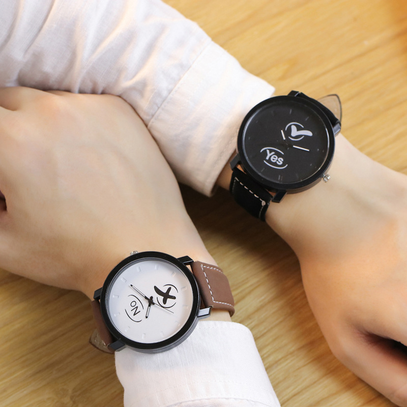 New Fashion Couples Watch YES & NO Leather Quartz Watch Men Women Casual Dress Sport Wrist Watches Creative Watches Clock Gifts