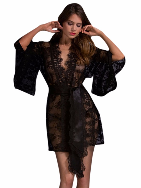 Black-Belted-Lace-Kimono-Nightwear-LC21998-2-1